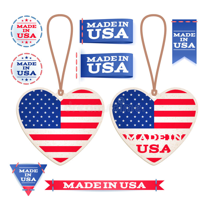 Made in USA hang tags and emblems. stock illustration