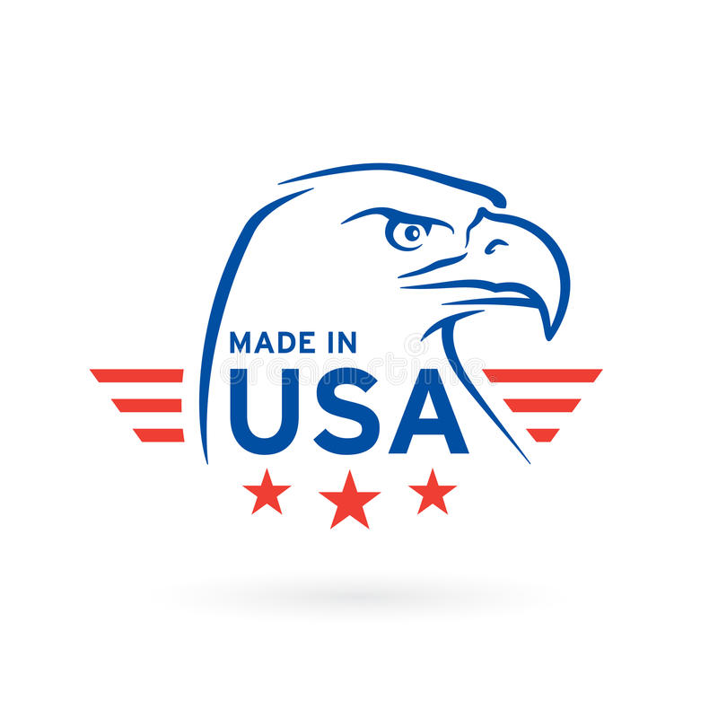 Made in USA icon with American Eagle emblem. Vector illustration stock illustration