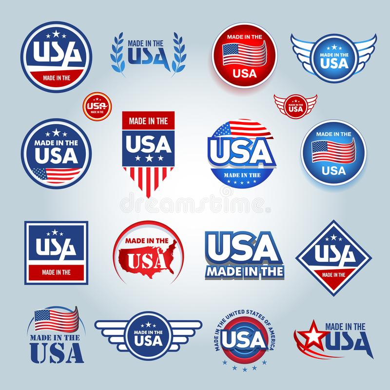Made in the USA icons. American made. Set of vector icons, stamps, seals, banners, labels, logos, badges. Vector illustration. stock illustration
