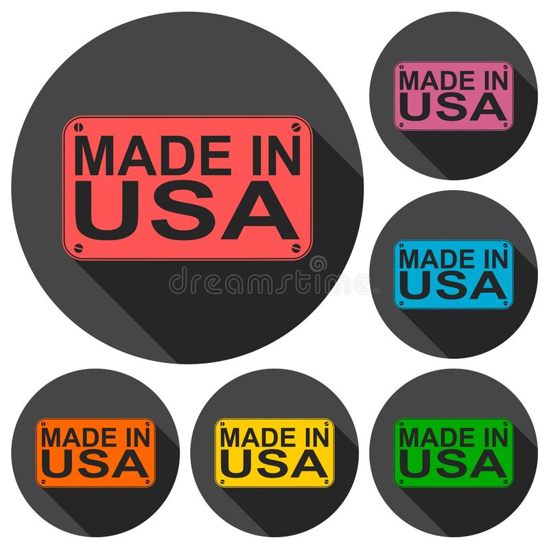 Made in USA icons set with long shadow. Vector icon stock illustration