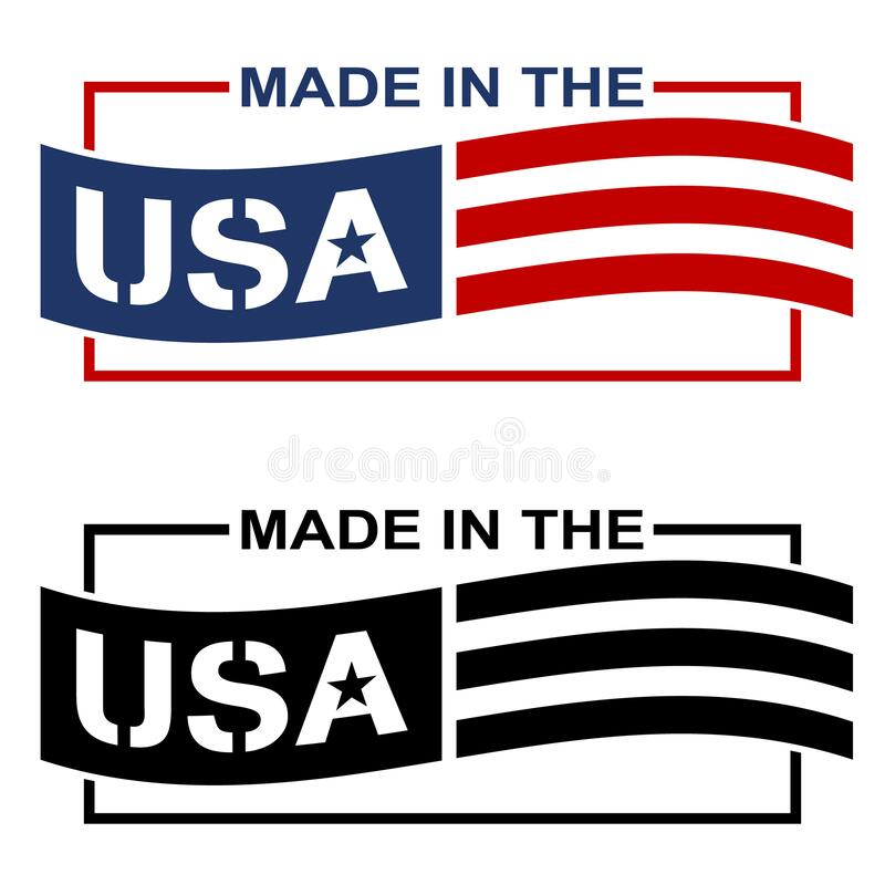 Made in the USA Label Logo Isolated Vector Illustration stock photography