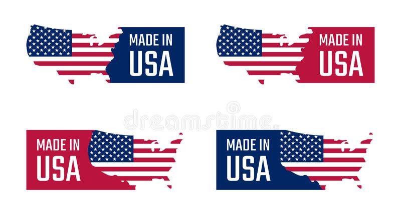Made in the usa labels set, american product emblem vector illustration