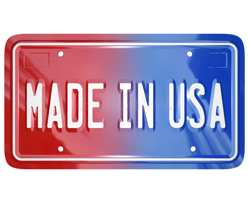 Made in the USA License Vanity Plate Car. A red white and blue vanity license plate with the words Made in USA to illustrate pride in an American built vehicle royalty free illustration