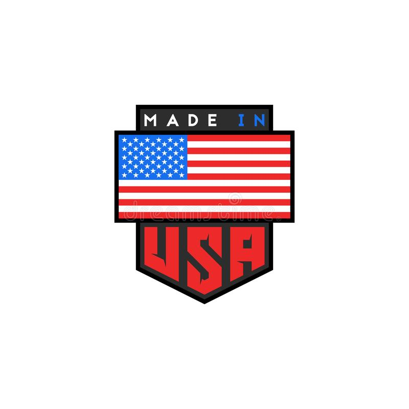 Made in USA logo design. American quality patriotic emblem. United States of America flag. National product guarantee slogan t- stock illustration