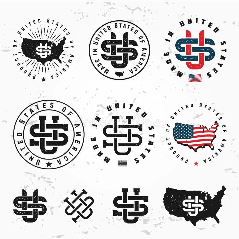 Made in USA monogram vector set. Vintage America logo design. Retro United States seal. US label illustration on grunge royalty free illustration