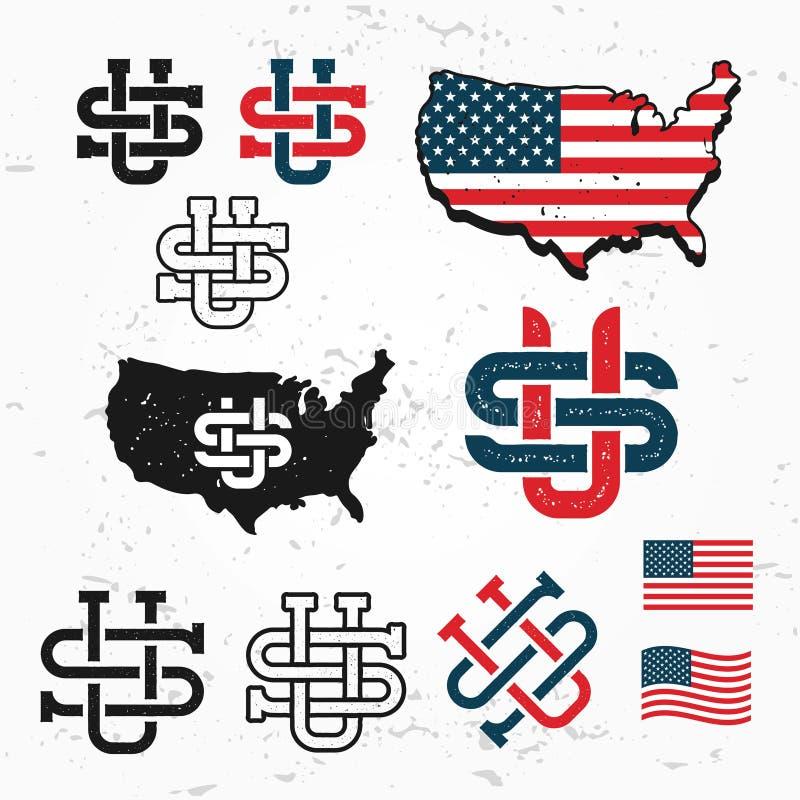 Made in USA monogram vector set. Vintage America logo design. Retro United States seal. vector illustration