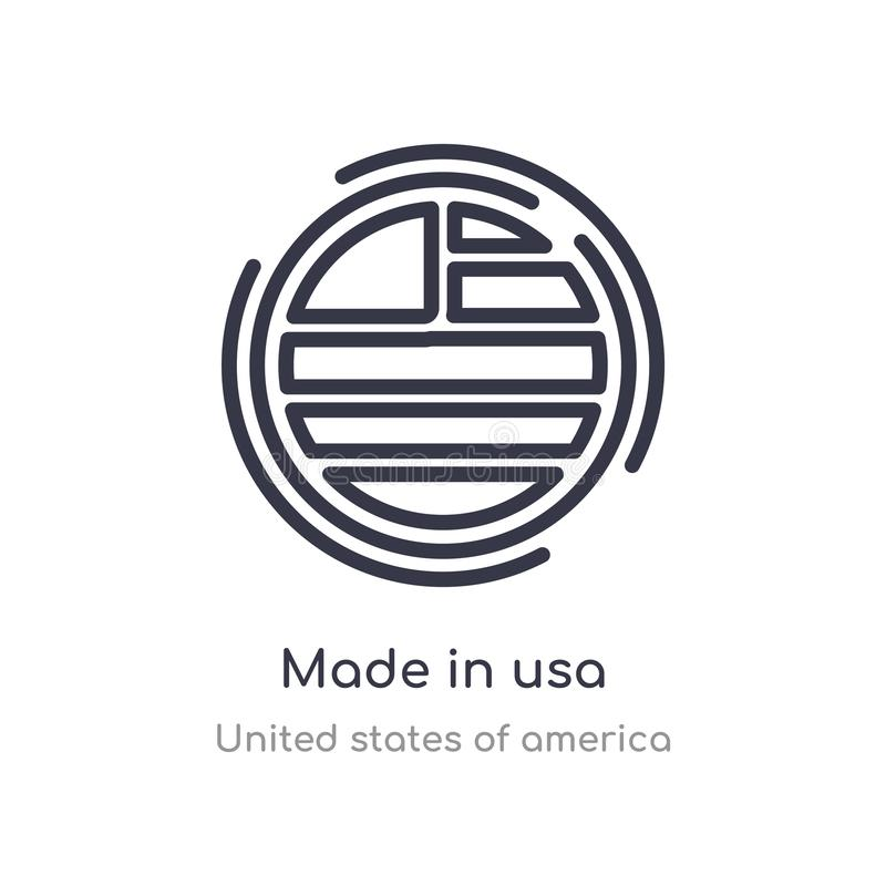 Made in usa outline icon. isolated line vector illustration from united states of america collection. editable thin stroke made in. Usa icon on white background vector illustration