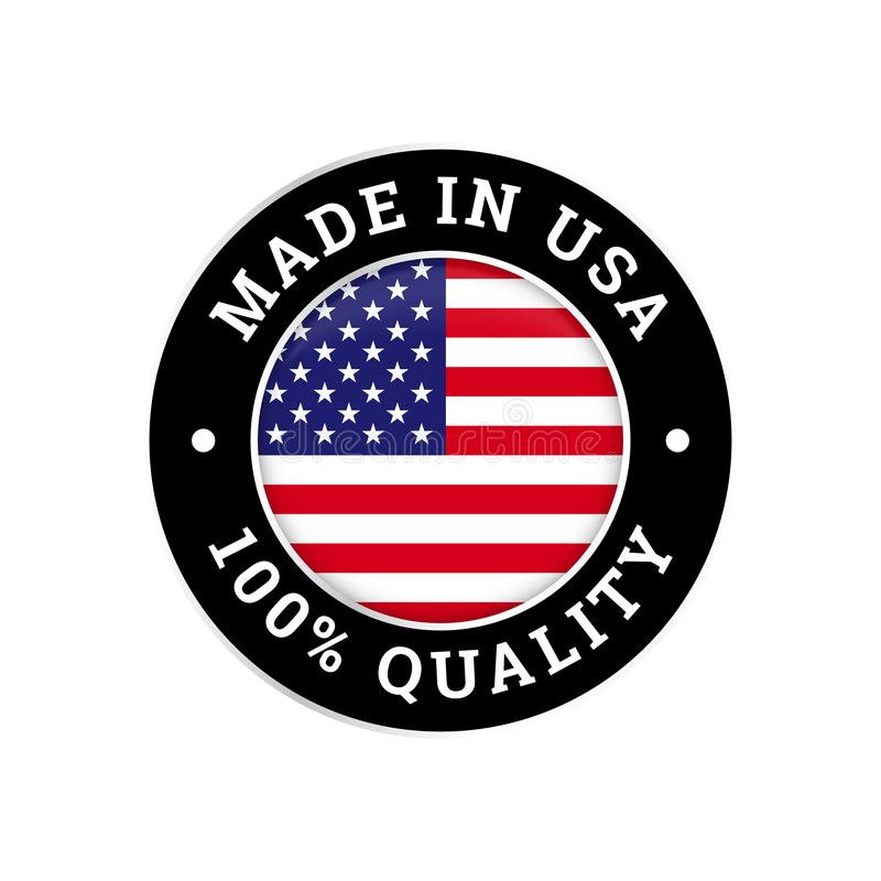 Made in USA 100 percent American quality flag icon stock illustration
