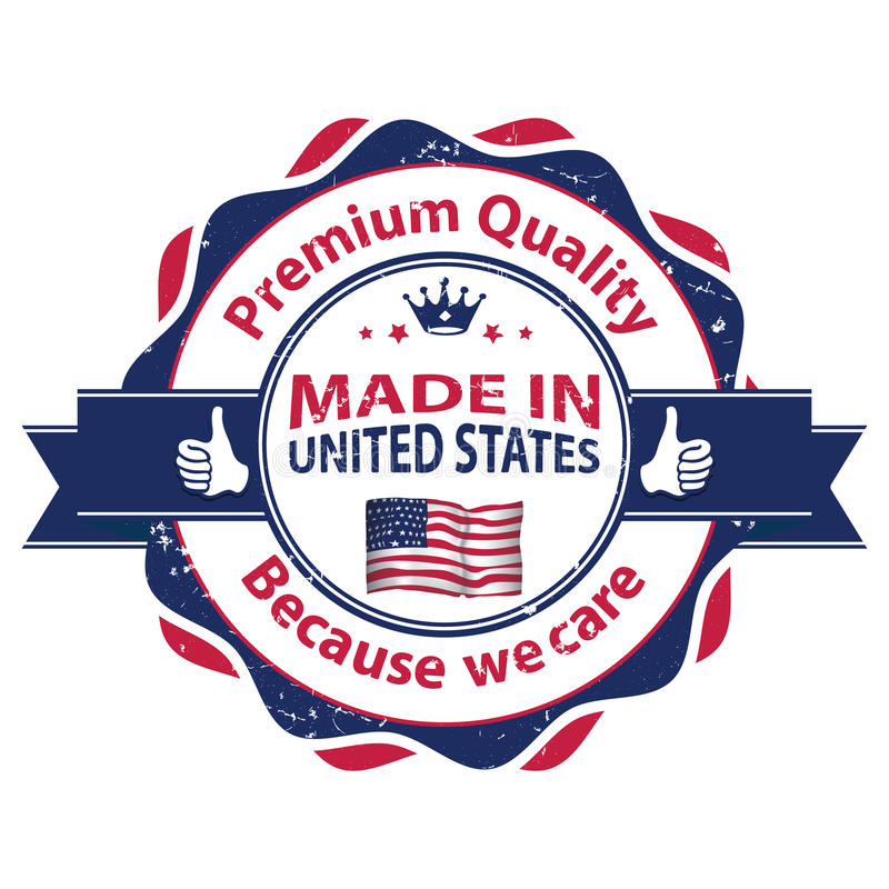 Made in USA, Premium Quality, because we care vector illustration