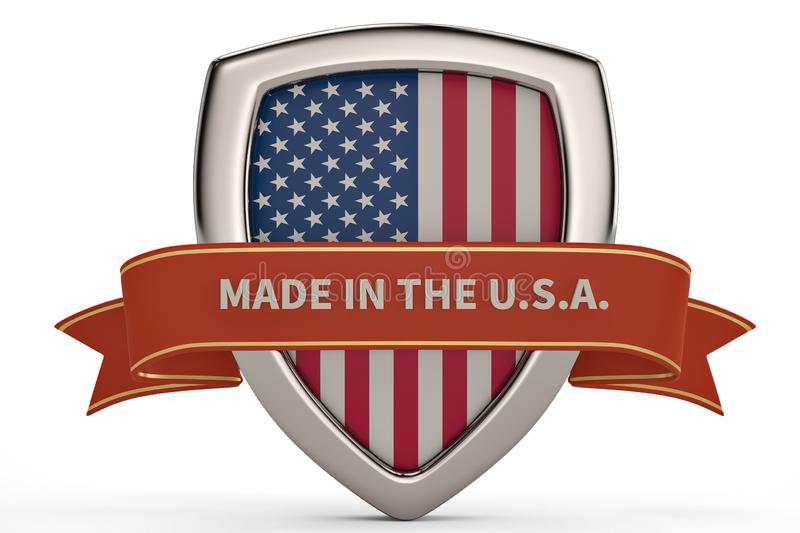 Made in the usa shield.3D illustration. royalty free illustration