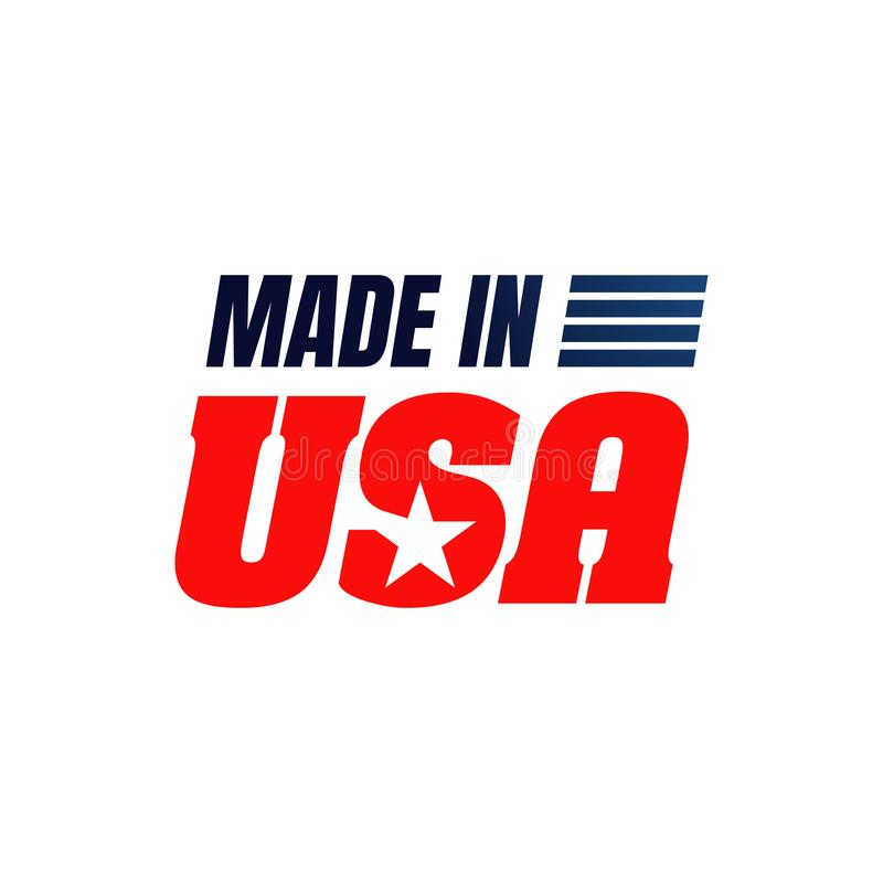 Made in USA sign logo icon vector illustrations. Flag, american, badge, stamp, label, united, national, emblem, blue, red, symbol, business, white, product royalty free illustration