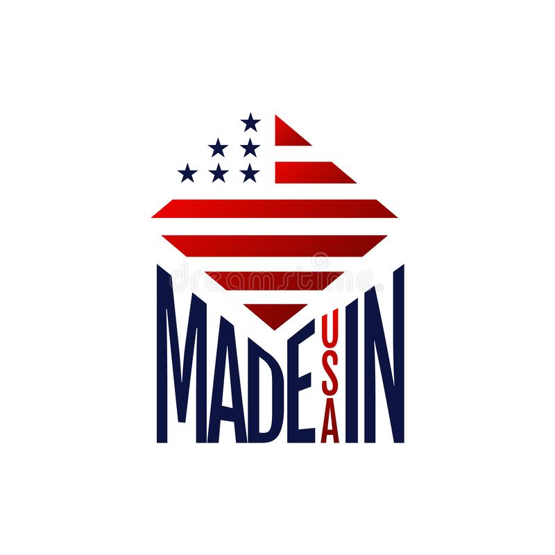 Made in USA sign logo icon vector illustrations. Flag, american, badge, stamp, label, united, national, emblem, blue, red, symbol, business, white, product vector illustration