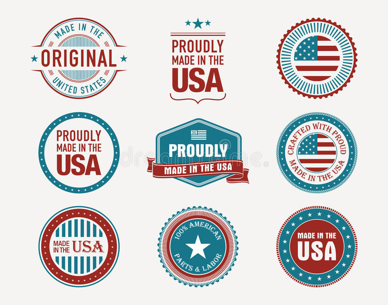 Made in usa stamps and seals stock illustration