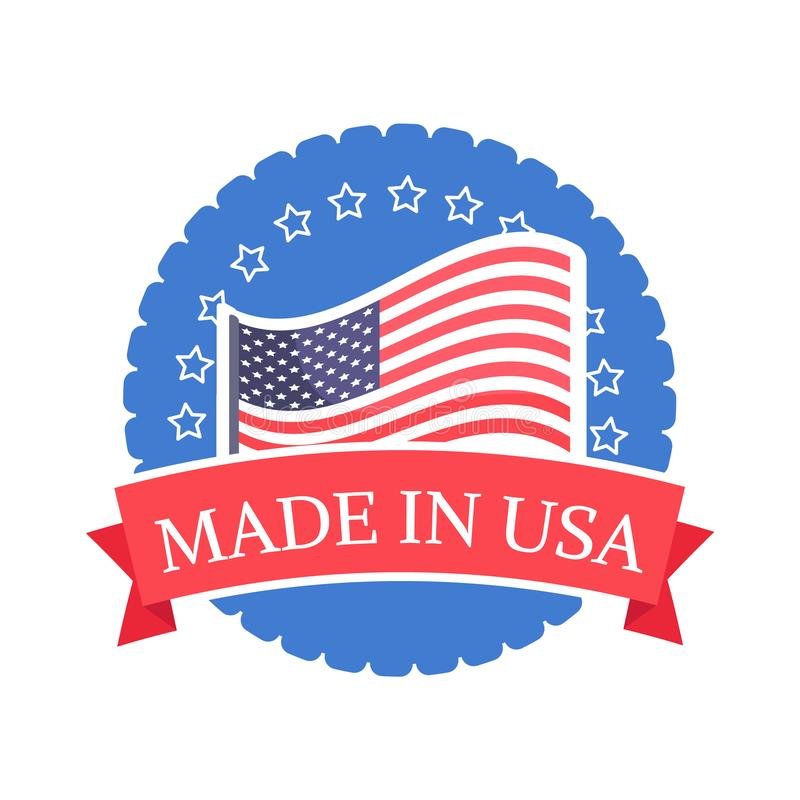 Made in USA Sticker with American Flag Round Stamp vector illustration