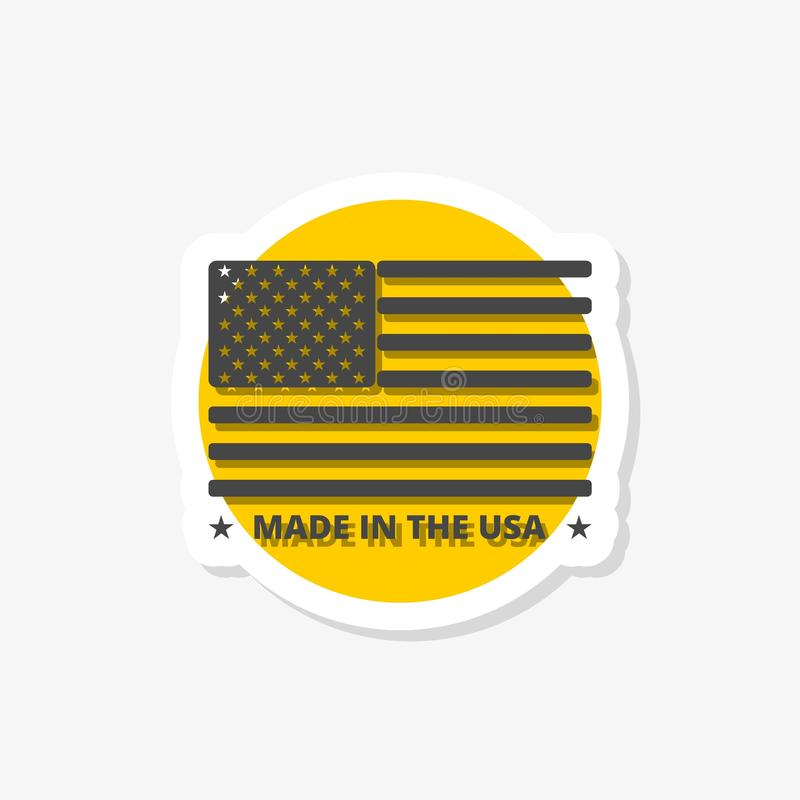 Made in USA sticker. Made in USA badge with american flag stock illustration