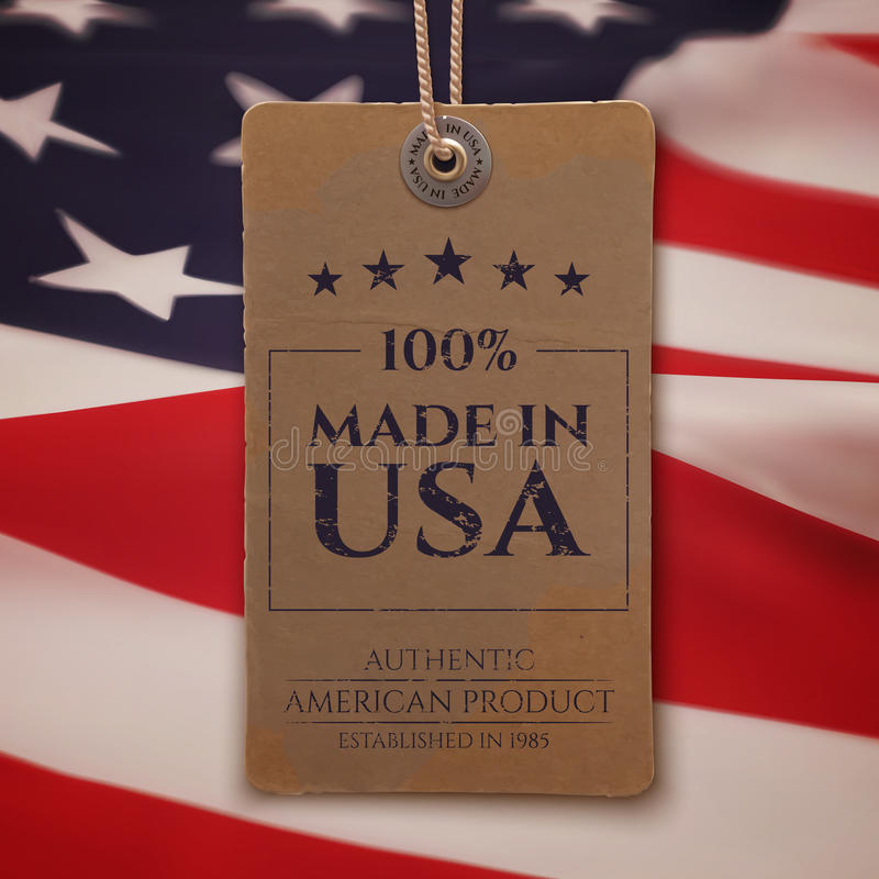 Made in USA. Vintage, realistic price tag royalty free illustration