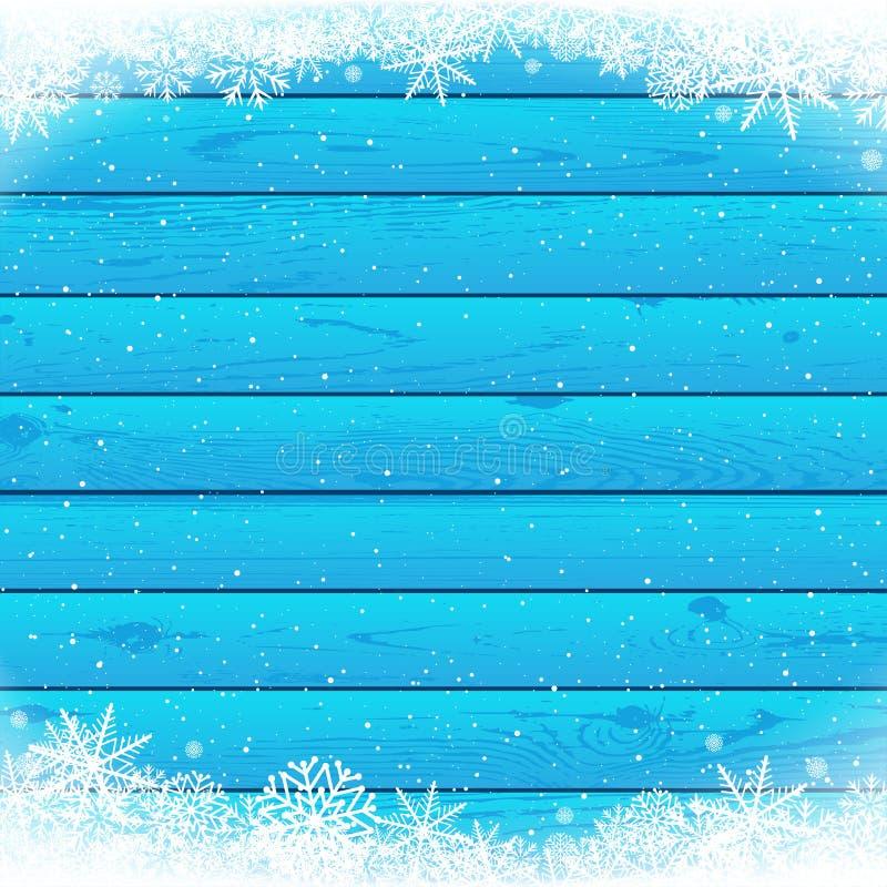 Madeira azul da queda de neve do Natal ilustração stock
