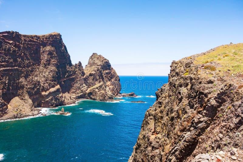 Madeira, cliff coast at Ponta de Sao Lourenco stock image