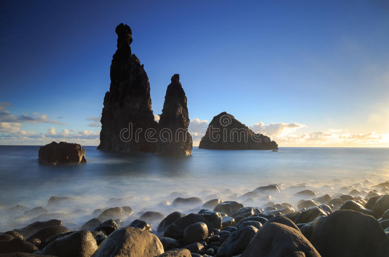 Madeira coast. Atlantic Ocean and the Madeira coast at Ribeira da Janela royalty free stock image