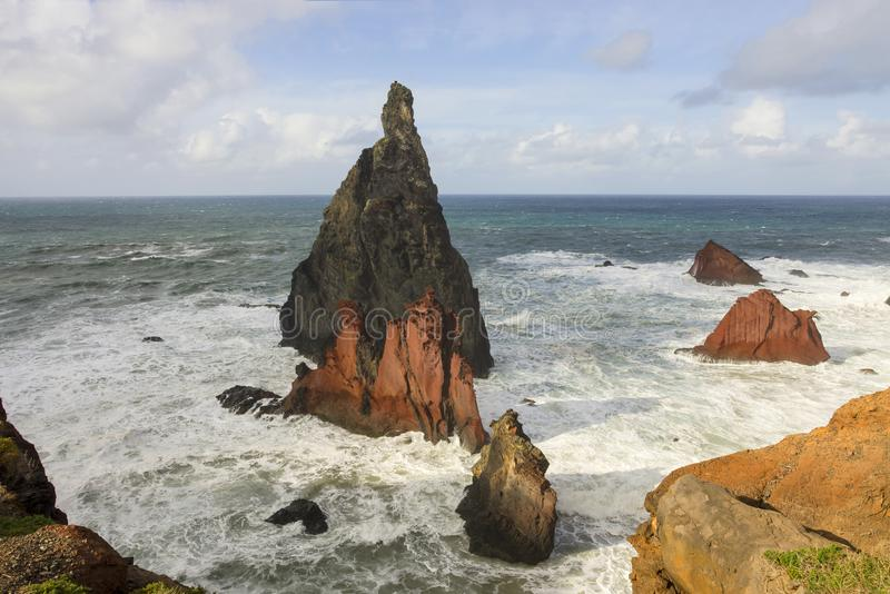 Madeira coast rocks stock image