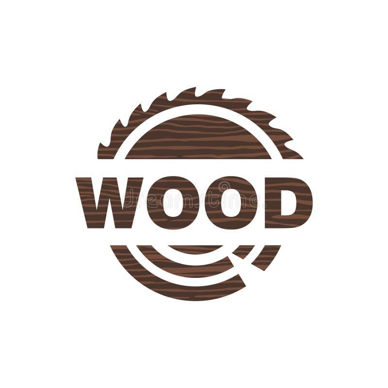 Madeira da serração do ícone do logotipo ilustração royalty free