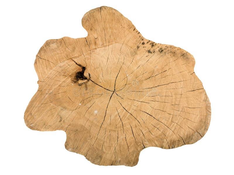 Madeira da textura do teste padrão cortado do tronco de árvore isolado no fundo branco imagens de stock