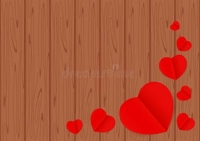 Madeira de Brown para o espaço de Valentine Background e da cópia, a forma do coração vermelha na tabela de madeira marrom e  ilustração royalty free