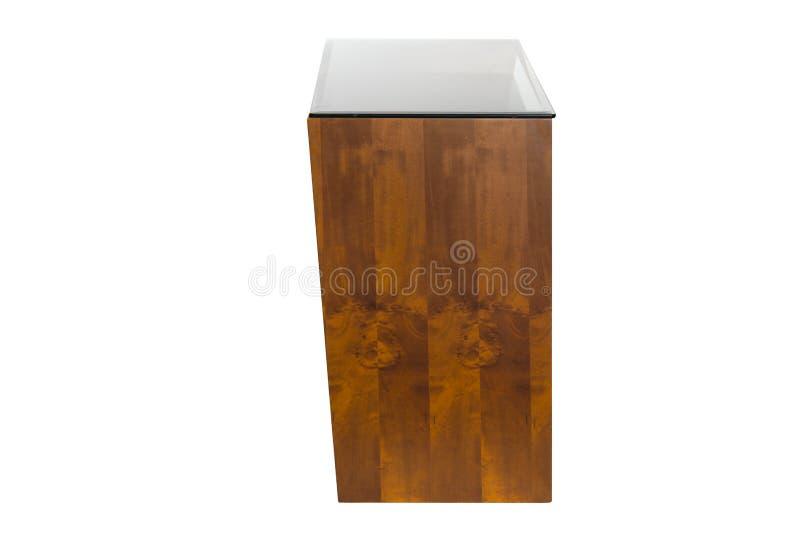 Madeira do bufete e vidro preto fotografia de stock