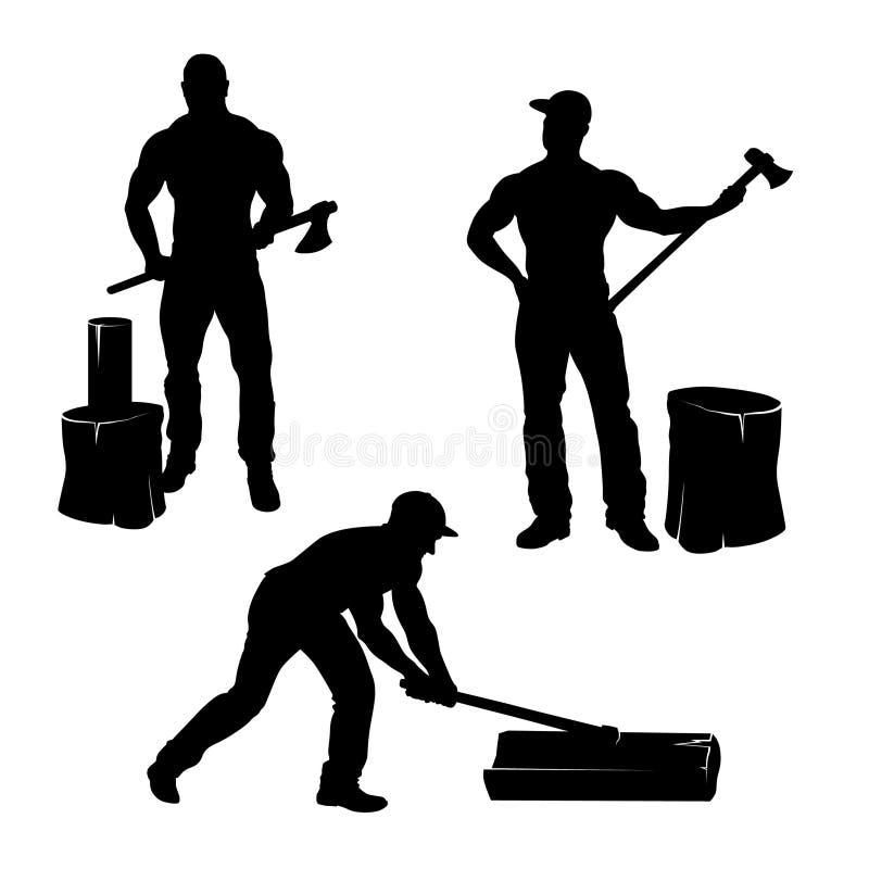 Madeira do corte do lenhador Homens do machado ilustração stock