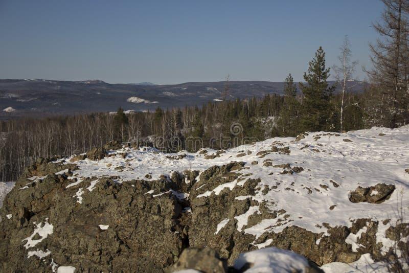 Madeira do inverno com pedras fotografia de stock royalty free