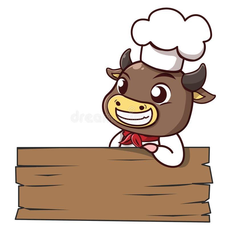Madeira do signage da carne sem gordura do cozinheiro chefe de Bull ilustração stock