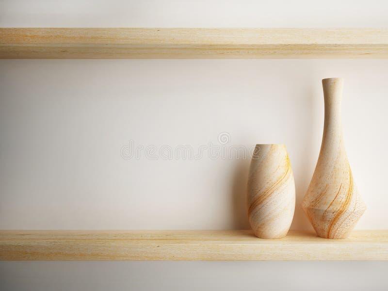 A madeira do vaso na prateleira decora o projeto ilustração royalty free