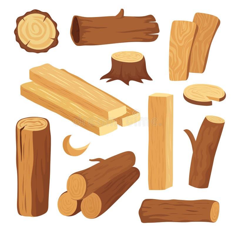 Madeira dos desenhos animados Log e tronco de madeira, coto e prancha Logs de madeira da lenha Vetor dos materiais de construção  ilustração stock