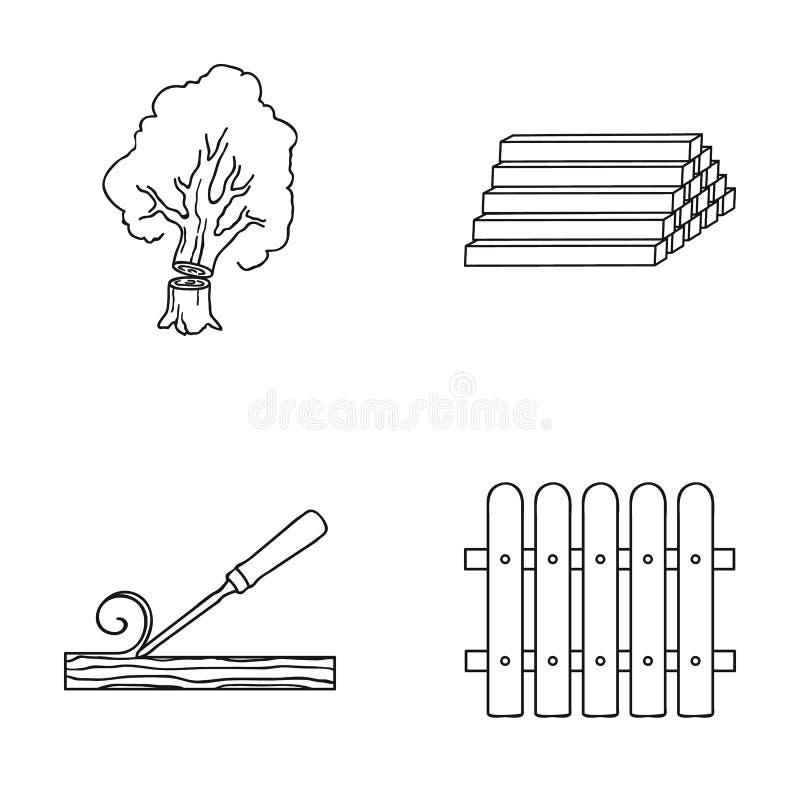 A madeira, entra uma pilha, formão, cerca Os ícones ajustados da coleção da madeira serrada e da madeira no estilo do esboço vect ilustração royalty free