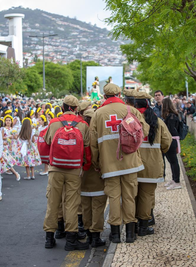 The Madeira Flower Festival Parade , Funchal, Madeira, Portugal. Funchal; Madeira; Portugal - April 22; 2018: Medical service at Madeira Flower Festival Parade stock photography