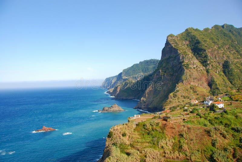 Madeira Island. Rocks, blue sky and atlantic ocean royalty free stock photo