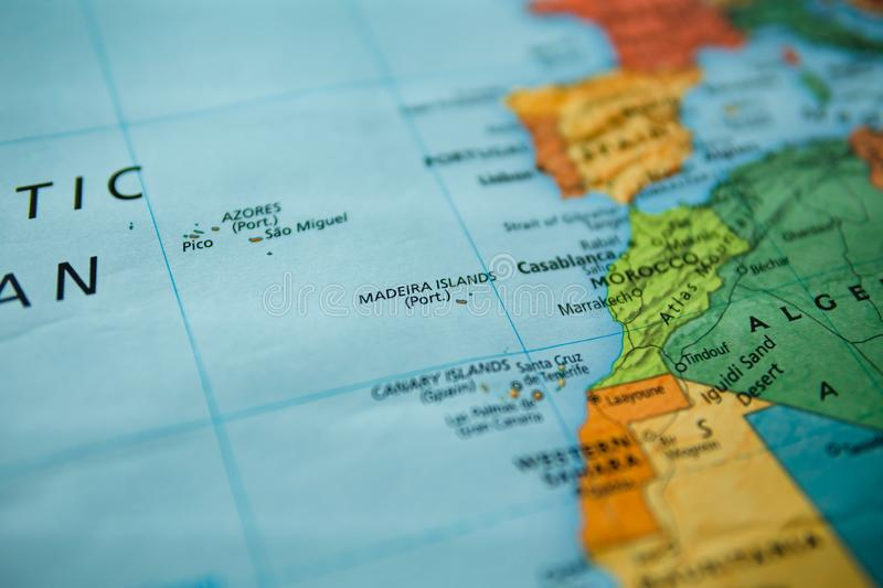 Madeira islands on a map. Selective focus on label. Closeup shot royalty free stock photo