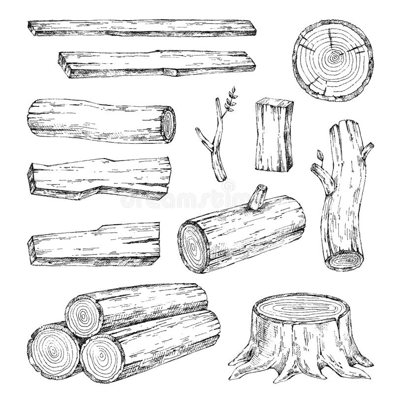 Madeira, materiais ardentes Coleção da ilustração do esboço do vetor Materiais para a indústria de madeira Coto, ramo, madeira Ár ilustração royalty free