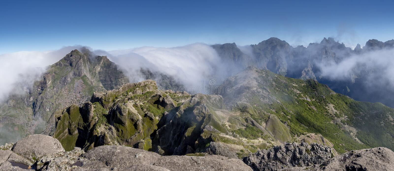 Madeira Mountains in clouds stock photos