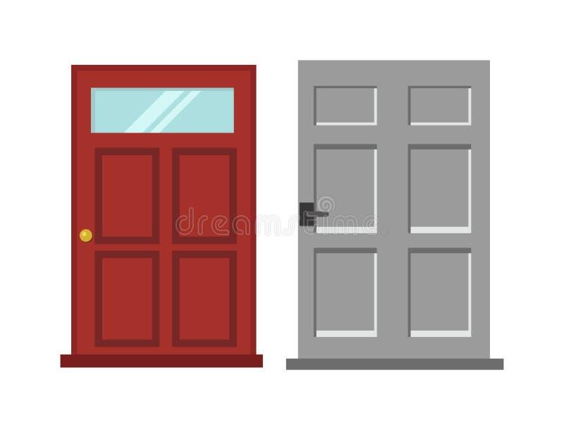 A madeira porta elegante vermelha e cinzenta dois de entrada isolou a ilustração lisa do vetor ilustração do vetor