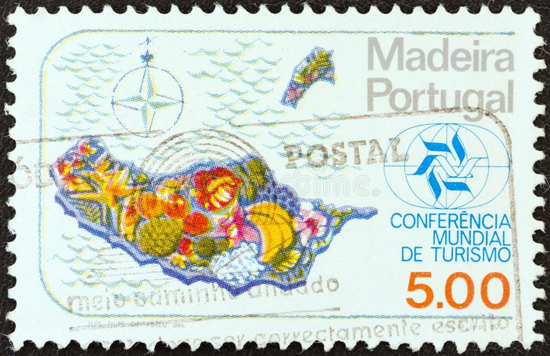 MADEIRA PORTUGAL - CIRCA 1980: A stamp printed in Portugal shows map of Madeira, circa 1980. MADEIRA PORTUGAL - CIRCA 1980: A stamp printed in Portugal from the royalty free stock images