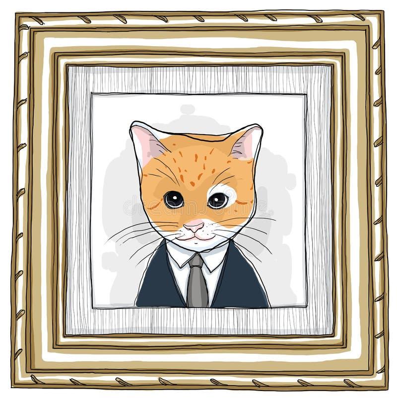 Madeira quadro e vintage da pintura do gato ilustração stock
