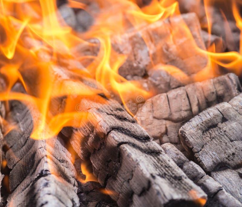 Madeira que queima-se no fogo - fundo imagens de stock royalty free