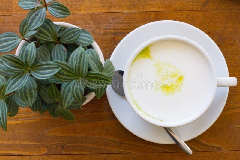 A madeira quente do latte do matcha de Greentea backgroundGreen o chá imagens de stock royalty free