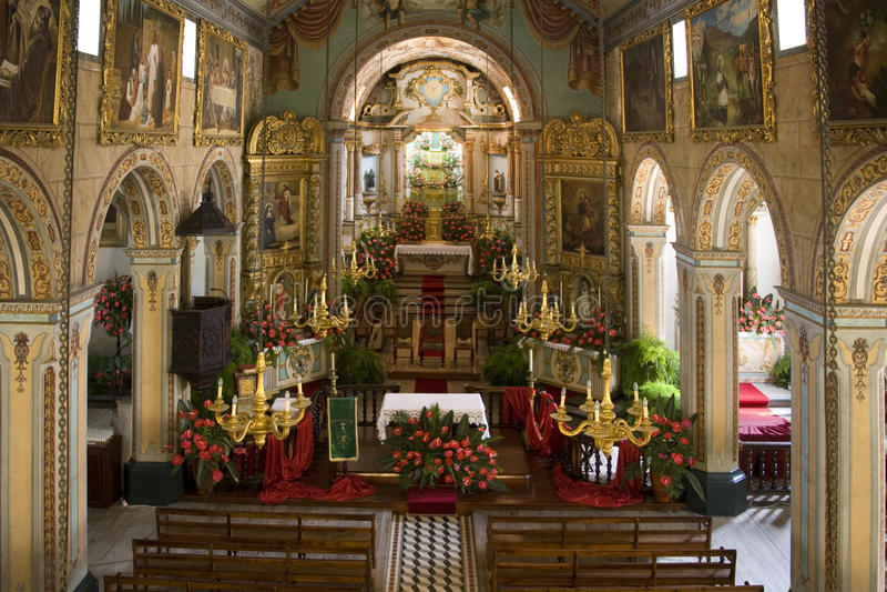 Madeira - Sao Vicente Church. The interior of Sao Vicente Church in the village of Sao Vicente on the Island of Madeira royalty free stock photography