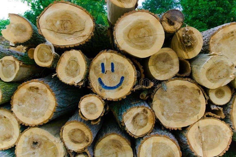 A madeira serrada reduzida empilhada em se etiquetou com uma cara do smiley fotos de stock royalty free