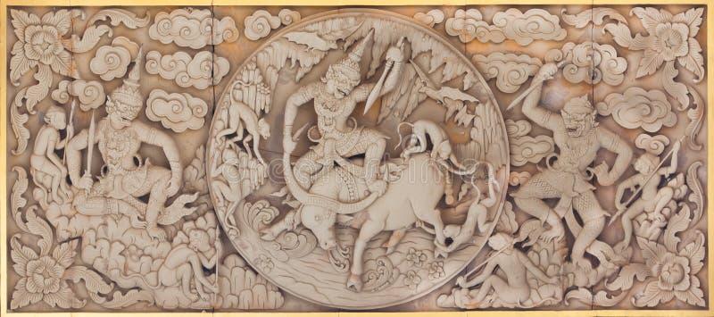 Madeira tailandesa tradicional do teak da arte do molde do estilo fotos de stock royalty free