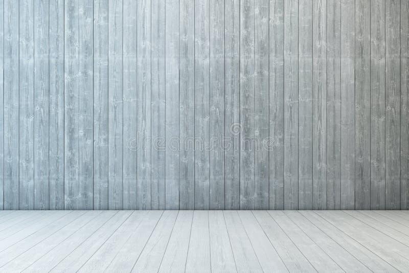 Madeira vazia da sala com parede e o assoalho de madeira ilustração stock