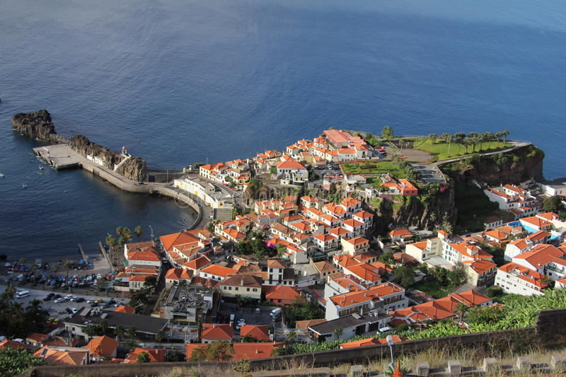 Madeira Village. Small fishing village on the coast of Madeira. Shows typical roofs and habour stock photos