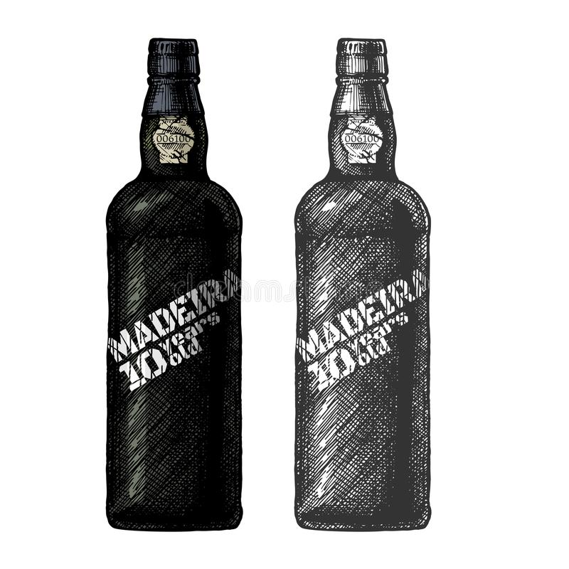 Madeira wine bottle. Vector hand drawn illustration of Madeira bottles, type of Portuguese dessert wine in vintage engraved style. 10 years old. Color and black royalty free illustration